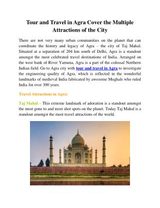 Tour and Travel in Agra Cover The Multiple Attractions of The City