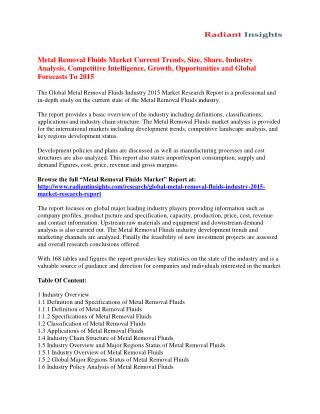 Metal Removal Fluids Market Size, Share, Analysis And Forecasts To 2015
