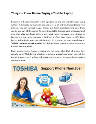 Toshiba Customer Support Number For US & Canada