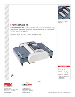 MBM Booklet Maker Jr at US$ 799.00 - Printfinish.com
