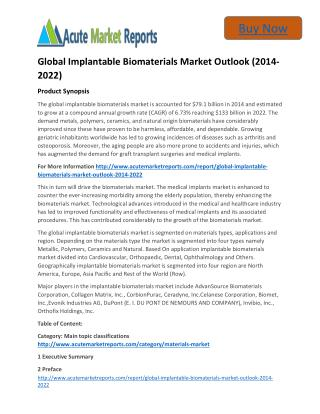 Worldwide Survey: Implantable Biomaterials Market 2014 to 2022 Share, Growth