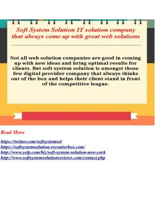 Soft System Solution IT solution company that always come up with great web solutions