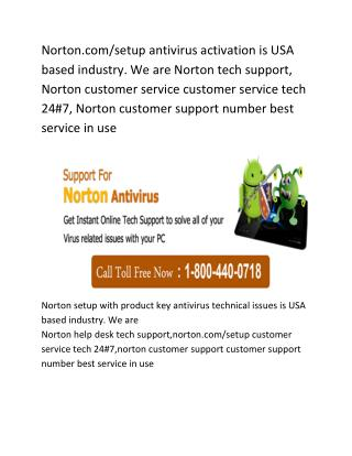 Norton Setup Help Number 1-800-440-0718
