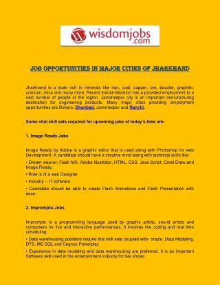 Job Opportunities in Major Cities of Jharkhand