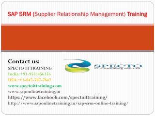 Sap srm (Supplier Relationship Management) online training in usa