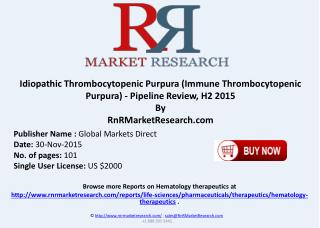 Idiopathic Thrombocytopenic Purpura (Immune Thrombocytopenic Purpura) Pipeline Review H2 2015