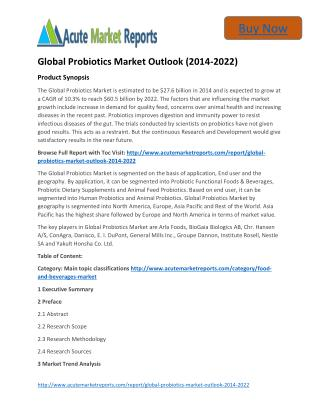 Global Probiotics Market 2014 to 2022 Trends and Forecasts:Acute Market Reports