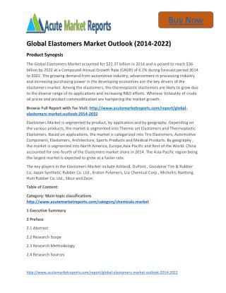 Global Elastomers Market 2014 to 2022 Growth Trends and Forecast,by Acute Market Reports