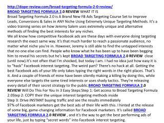 BROAD TARGETING FORMULA 2.0 REVIEW