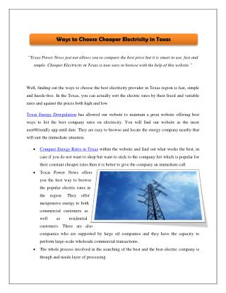 Ways to Choose Cheaper Electricity in Texas