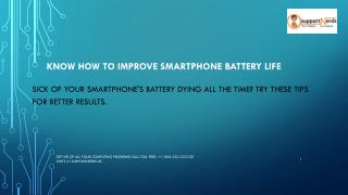 Know How to improve smartphone battery life