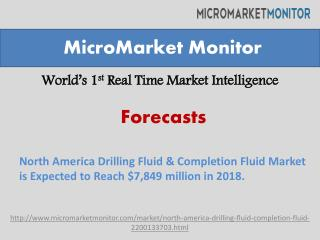 North America Drilling Fluid & Completion Fluid Market is Expected to Reach $7,849 million in 2018.