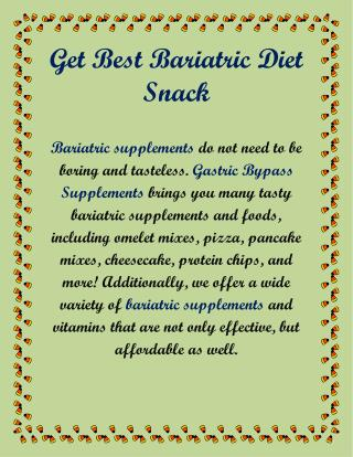 Get Best Bariatric Diet Snack