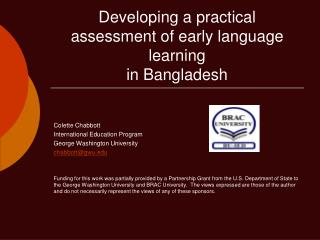 Developing a practical assessment of early language learning  in Bangladesh