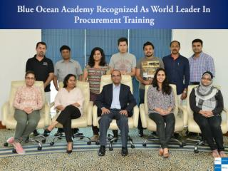 Blue Ocean Academy Recognized As World Leader In Procurement Training