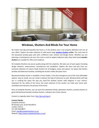 Windows, Shutters And Blinds For Your Home