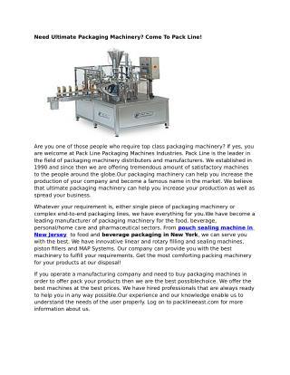 Pouch Sealing Machine New Jersey