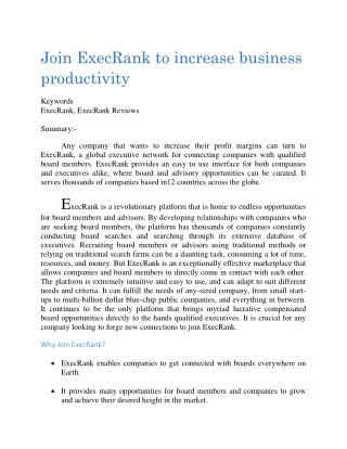 Join ExecRank to increase business productivity