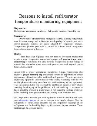 Reasons to install refrigerator temperature monitoring equipment