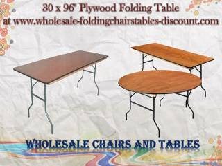 30 x 96 Inches Plywood Folding Table at www.wholesale-foldingchairstables-discount.com