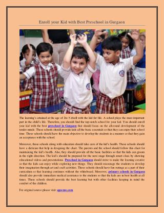 Enroll your Kid with Best Preschool in Gurgaon