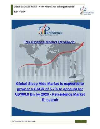 Global Sleep Aids Market - Share, Analysis, Trends and Size to 2014 to 2020