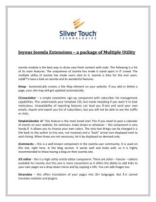 Joyous Joomla Extensions – a package of Multiple Utility