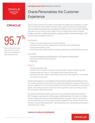 Oracle Personalizes the Customer Experience Using Marketing Automation