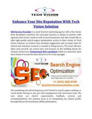 Enhance Your Site Reputation With Tech Vision Solution