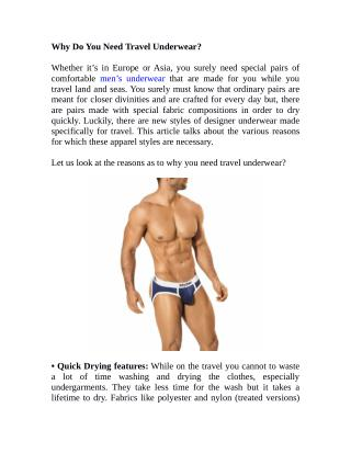 Why Do You Need Travel Underwear?