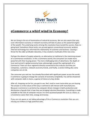 eCommerce a whirl wind in Economy!