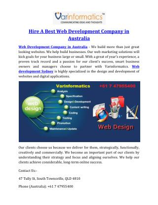 Hire A Best Web Development Company in Australia