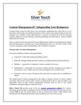 Content Management – Safeguarding Your Brainpower