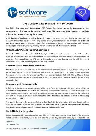 DPS Conveyancing Case Management Software