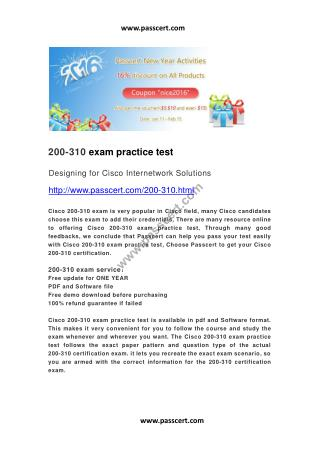 Cisco 200-310 exam practice test.