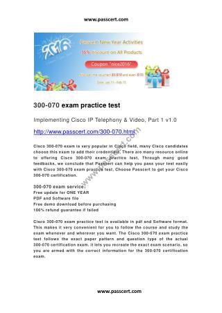 Cisco 300-070 exam practice test