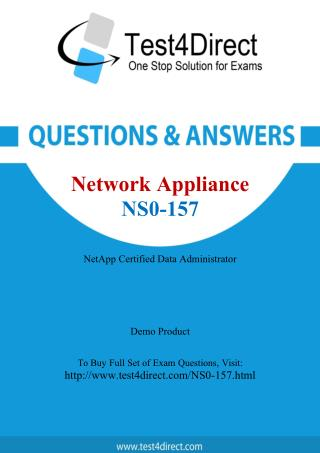 Network Appliance NS0-157 NCDA Real Exam Questions
