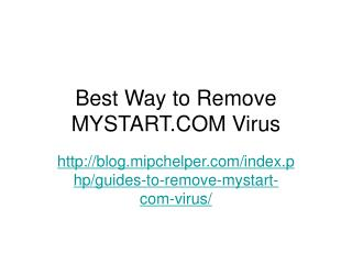 Guides to Remove MyStart.com Virus