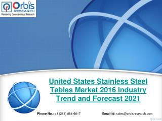 New Market Study Published: United States Stainless Steel Tables  Industry