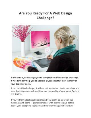 Are You Ready For A Web Design Challenge?