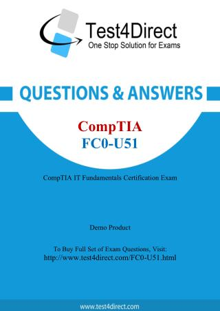 CompTIA FC0-U51 IT Fundamentals Real Exam Questions