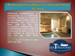 Bathroom Installation Explained, Step By Step