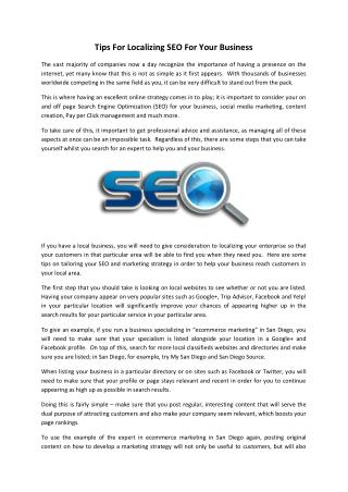 Tips For Localizing SEO For Your Business