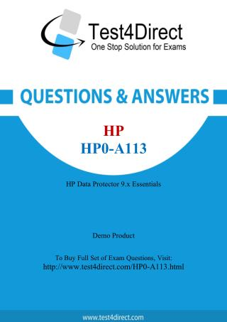 HP HP0-A113 Exam Questions