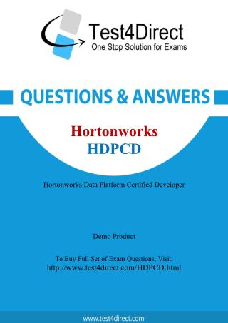 Hortonworks HDPCD Certified Developer Real Exam Questions