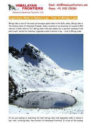 Trek  To Bhrigu Lake, Bhrigu Lake Trekking - Himalayan Frontiers
