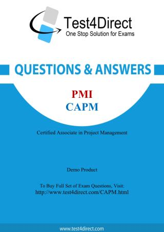PMI CAPM Exam - Updated Questions