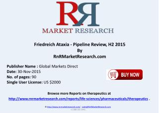 Friedreich Ataxia Pipeline Review H2 2015
