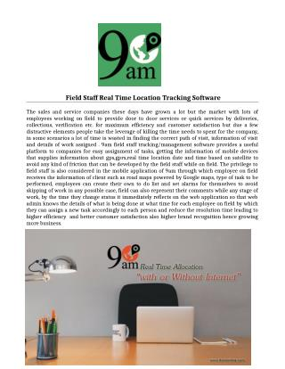 Field Staff Real Time Location Tracking Software