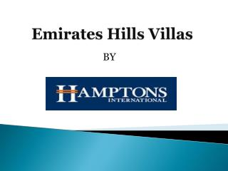 Emirates Hills Villas for sale | Emirates Hills Community